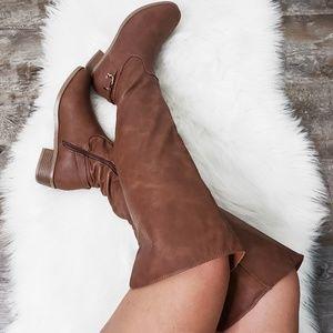 Cognac Thigh High Exposed Back Zipper Boots Tall